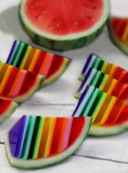 Rainbow Jello In Watermelon Shell by theresahelmer