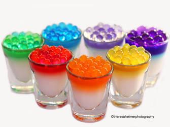 Rainbow Tapioca Balls w/ Panna Cotta by theresahelmer