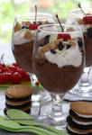 Dark Chocolate Mousse w/ Oreo heads/tails Cookies by theresahelmer
