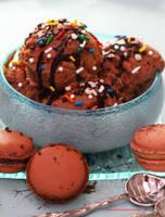 Homemade Chocolate Ice Cream w/ Chocolate Macaroon by theresahelmer