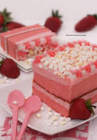 Strawberry Cream Cake with Mini Marshmallows by theresahelmer