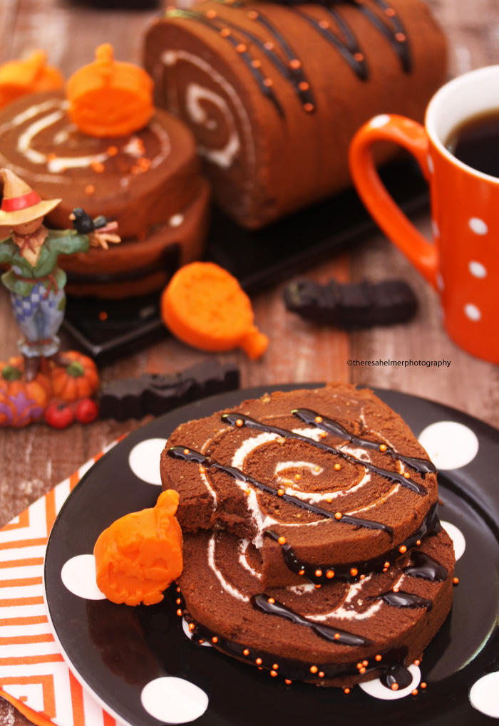 Chocolate Roll Cake/Halloween Chocolate Bites by theresahelmer