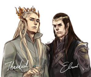 Thranduil and Elrond by itokufox