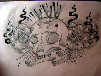 skull and roses by psychopaintrix