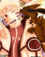 Baby kurama with Naruto by Abhizz
