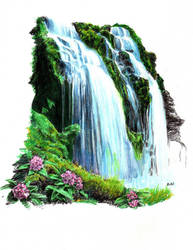 Tropical Waterfall by thorr