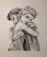 Love Thaws ~ Elsa and Anna Fabric Drawing by daphnetails