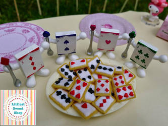 Playing cards cookies miniature by LittlestSweetShop