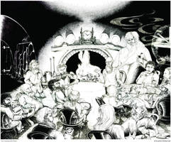An Unexpected Party _ 11by14in. pen-and-ink _ 2001 by greendalek