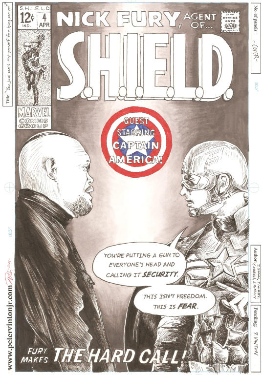 My take on an old Nick Fury cover from the 1970s by greendalek