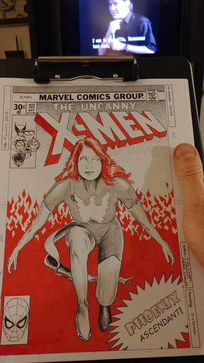 Jean Grey retro-style cover by greendalek