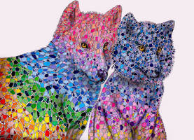 Rainbow wolfs by Food-and-art