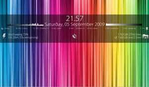 Dark Conky with Rainbow Wall by londonali1010