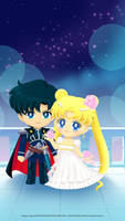 Serenity and Endymion Sailor Moon Drops Wallpaper by NatouMJSonic