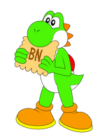 Yoshi eating a french cookie by NatouMJSonic