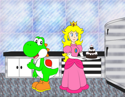 Peach and Yoshi in the kitchen by NatouMJSonic