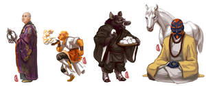 4 monks by Tianwaitang
