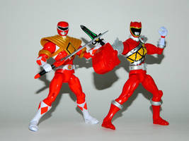 Mighty Morphin and Dino Charge Amored Reds by LinearRanger