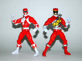 Mighty Morphin and Dino Charge Reds by LinearRanger