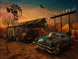 The Abandoned Gas Station by vladimirpetkovic