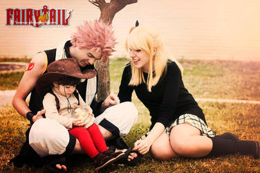 Natsu, Lucy and Asuka - Fairy Tail cosplay by onlycyn