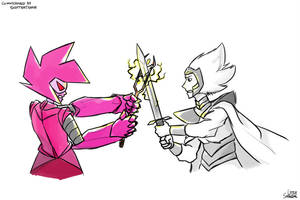 Pink vs White (Commission) by LittleSnaketail