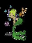 Pin Up Mermaid (colored) by SkekMara
