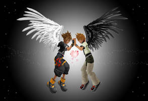 Sora and Roxas angels of heart by RoxasTsuna