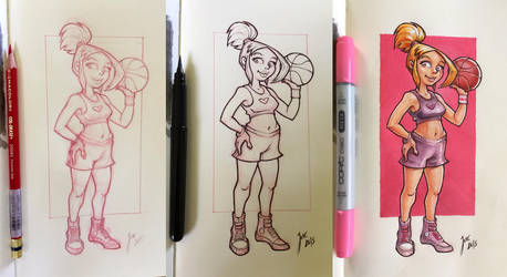 Basket Girl - sketch by JoseAlvesSilva