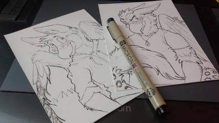 040216 Snowy and Vayro Pen Sketch Commissions by saiyanhajime