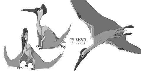 Pterosaur/Quetzal Sketches by flluksel
