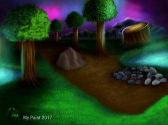 Landscape Forest Night - Done In My Paint 100% by BikerMice2015
