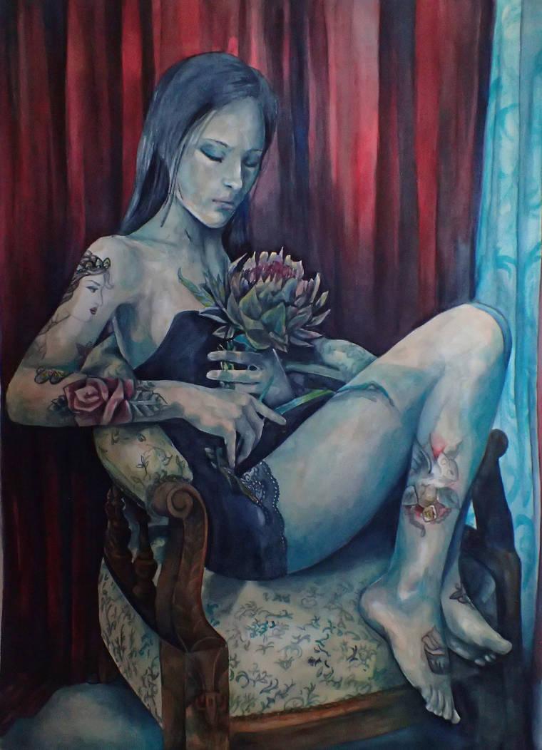 self portrait in watercolour by aliceinsane