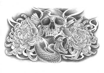 skull flowers birds and snake by wolfchiarts
