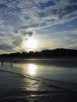 Sunset on South Carolina Shore by afraudandafake