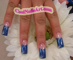 Nail Design Blue Feather by thientu83