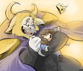 Asgor and Frisk have some fun by TheLunnaWorld