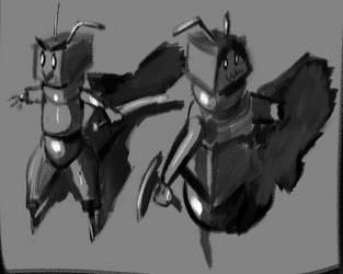 Perspective Practice Preview - Robot doodles by Cestarian