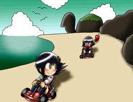 Jill vs Tomo - Kart Racing! by Rokku-D