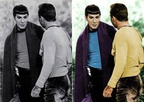 Colorized Spock and Kirk by SpockGlocksRocks