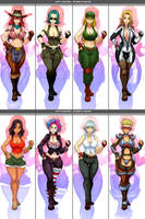 Female Characters - Outfit variation (commission) by Sano-BR
