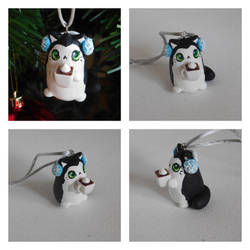 Cat with Earmuffs and Hot Chocolate Ornament by starwolf303