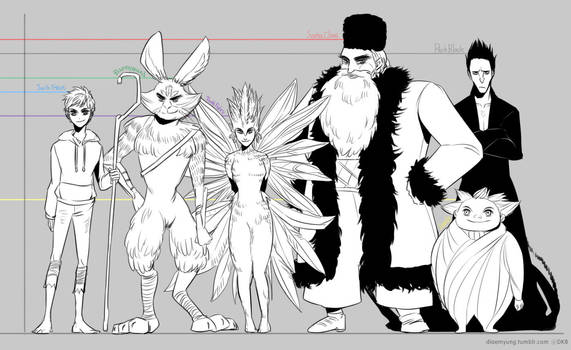 Rise of The Guardians Character's Height by Breetroad