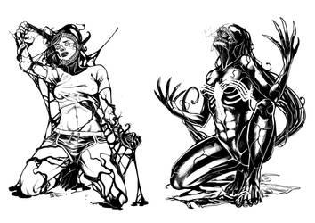 [Commission]: She-Venom Transformation III by BleedingHeartworks