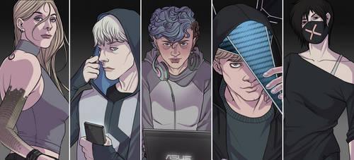 [Watch_Dogs]: Hacker Squad by BleedingHeartworks