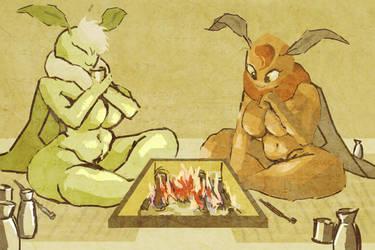 Moths having tea by Owlmaricus