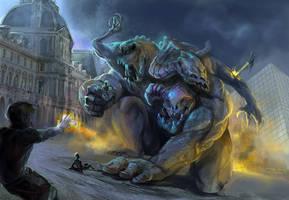 Giant Monster vs godlings by Creetodon