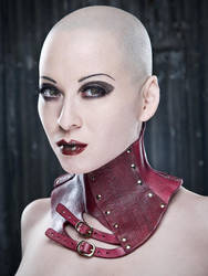 Red Acedia Posture Collar by AntisepticFashion