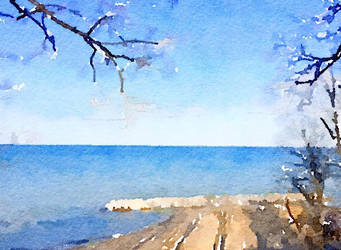 Watercolor of Lakefront by asommersby