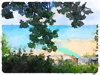 Watercolor at the Beach by asommersby